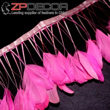 Leading Supplier ZPDECOR 8-10inch(20-25cm) 10yards/lot Hot Pink Girls Stripped Coque Tail Feather Trim Dress(China)
