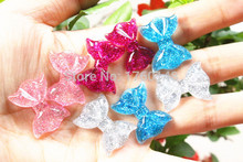 AB color Mixed bowknot Hair Bow flat back craft resin DIY Headband headwear accessories(China)