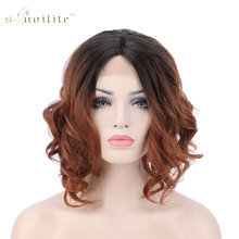 SNOILITE 40cm Body Wavy Bob Lace Front Wig Heat Resistant Synthetic Hair Full Wigs Mix Natural Black Brown Blonde(China)