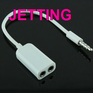 JETTING 1PCS Practical 3.5mm Double Jack Headphone Splitter Connectors for iPod For iPhone 4 4S iPad2 Earphone Accessories White(China (Mainland))