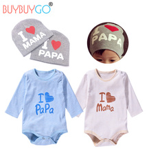 NewBorn Papa Mama Paternity Suit Baby Long Sleeve Cotton Romper Children O-neck Body 0-9 Month Babies Hats Infant Love Gifts(China)