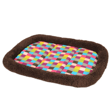 2016 Lovely Plush Ring Cushion Vibrant Colorful Squares Pet Nest Pet Bed Kennel Dog Bed Kennel Cat Litter Pet Nest For Promotion