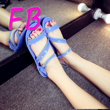 Big Size Eu41 Plastic Buckle Beach Sandals Strap Sandals Soft Bottom Shoes Woman Huarache Wedges Chaussure Femme Ladies Shoes