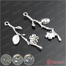 (20348-G)6PCS 41*13MM Alloy Imitation Rhodium Tree Branch Charms Pendants Diy Jewelry Findings Accessories Wholesale(China)