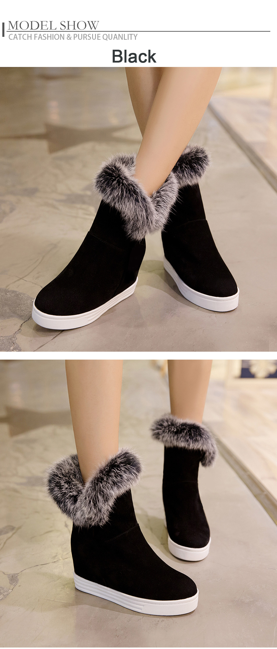 fur snow boots women