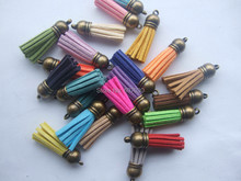 10Pcs 38mm Mixed Suede Leather Jewelry Tassel For Key Chains/ Cellphone Charms Top Plated End Caps Cord Tip