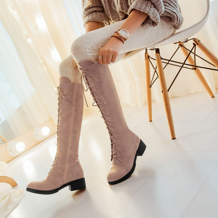 New women sexy lace up knee high boots high square heels women boots winter snow boots casual shoes woman large size 34-46