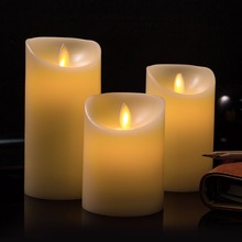 Set of 3pcs Moving Wick Dancing Flame Paraffin Wax Pillar LED Candle Light Set  for Christmas Wedding Party Home Decor, RC