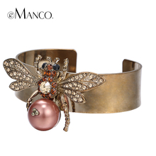Cuff bangle gold-color metal bangles for women autumn new insect series pulseiras femininas animal bangle bijoux eManco(China)