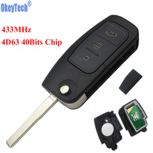 OkeyTech 433MHz 4D63 Chip 3 Buttons Flip Folding Remote Control Key for Ford Mondeo Focus Fiesta C Max S Max Galaxy HU101 Blade(China)
