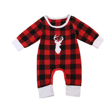 Pudcoco Christmas Autumn Toddler Infant Baby Boys Girls Long Sleeve Romper Red Plaid Deers Antler Print Jumpsuit Clothes Outfits(China)