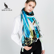 SAN VITALE Women Scarves and Shawls Winter Warm Scarf Luxury Brand Soft Fashion Wraps Wool Cashmere Silk Hijab Bandana for Gifts(China)