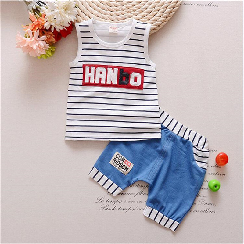 2016 New striped Summer Baby Boy Clothing Set vest  + Shorts Kid Boy Summer Set Children Boy Clothes Set Sleeveless<br><br>Aliexpress
