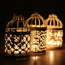 Moroccan Hollow Iron Lantern Candle Holders Vintage Candlestick Romantic Home Wedding Decoration Crafts Birthday Gifts 14*8CM