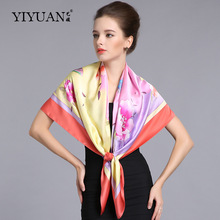 100% Natural Silk Square Scarves Women Top Grade Pure Silk Scarf Shawl Fashion Flower Printed Large Size 110cm x 110cm  SF301