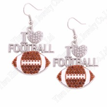 "Fans Favorite Sports Jewelry Drop Shipping 1.1""*1.2"" inches I Love Football 2D Crystal Pendant French Hook Earrings"