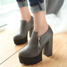 2017 Autumn Winter New High-heeled Women Boots Zipper Round PU Ankle Boots For Women Platform Black Brown Grey Women Boots ZK3.5