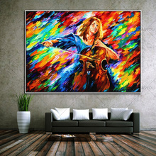 Hand Painted Modern Abstract Palette Knife Canvas Oil Painting Beauty playing guitar Picture Wall Art For Living Room Home Decor(China)