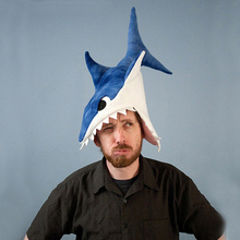 Plush Shark Hat Funny Halloween Festival Party Creative Stereoscopic Eat Human Shark Mardi Gras Party Costume Hat Blue Gray Red(China)