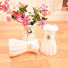 Plastic 1 Pcs Garden White Artificial Vase Flower Fruit Beautiful Basket Container Party Room DIY Party Decoration Random Color(China)