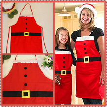 2016 New Adult/Children Christmas Decoration Apron Kitchen Aprons Christmas Dinner Party Apron Santa Christmas Kitchen Apron