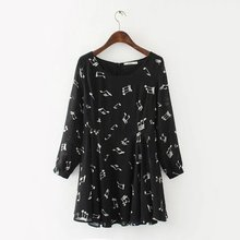 Free shipping music notes printed black dress long sleeves A word for women