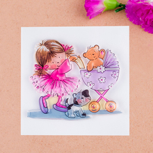 Scrapbook DIY photo cards account rubber stamp clear stamp finished transparent chapter Girl Baby Carriage Bear and Dog 10*10