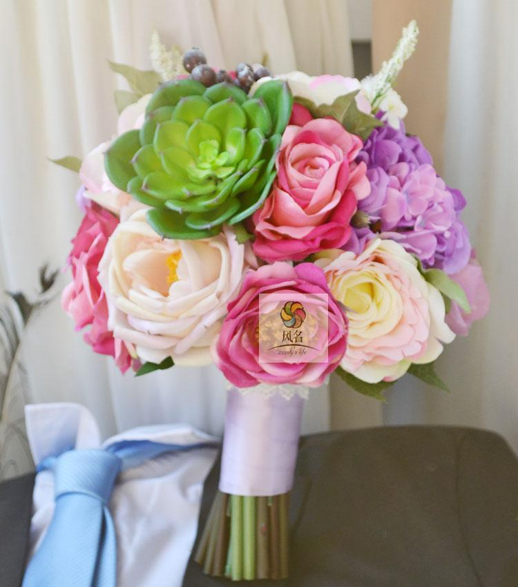 Handmade artificial flower wedding flower bride holding flowers lilac Roses plant(China (Mainland))