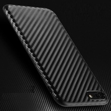 Soft Carbon Fiber Case for Iphone 6 6s 7 Plus Fashion Grain Striped Cover Man Business Back Shell Rubber Silicone Protector New
