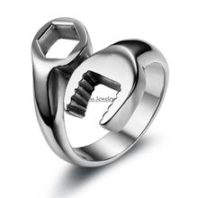 Fashion Cool Biker Mechanic Wrench Stainless Steel Mens Ring Punk Style Rings for men Size 8-13 anel masculino(China)