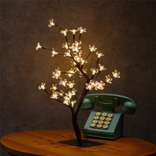 Height 45cm Crystal Cherry Blossom Tree Light 48 LED Christmas Fairy Wedding Decoration Indoor Table Lamp Luminarias Night light