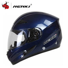 NENKI Motorcycle Helmet Motorcycle Cool Blue Full Face Riding Helmet Motorcycle Full Face Riding Helmet For Men And Women(China)