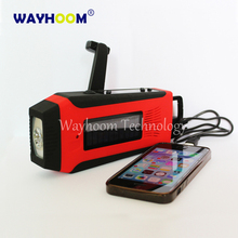 Hand Crank Phone Charger Solar Power AM/FM/NOAA Radio With Flashlight Super Bright
