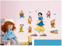 Snow white dwarfs wall stickers home decor home decoration wall sticker for girl kids rooms wall decals princess girls room Z483