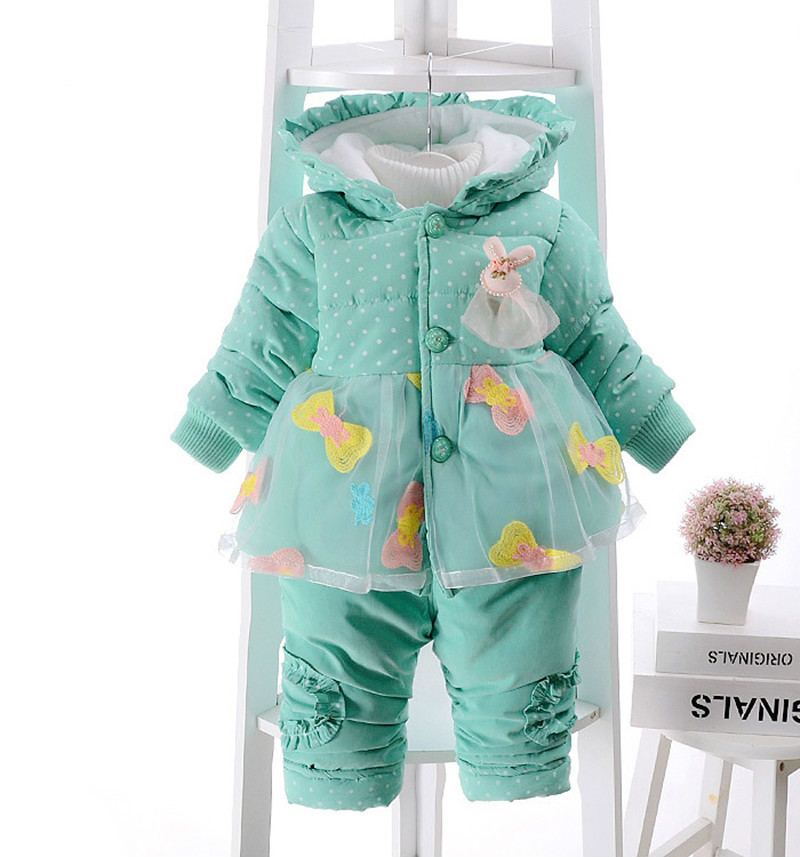 high quality baby girls winter warm set girls thick lace embroidery bow sets children hooded coat+ pants 2pcs suit<br>