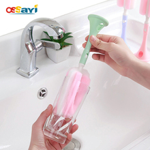 Sponge Clean Brush Kitchen Tool Creative Long Handle Wash Brush Easy Hanging For Glass Milk Bottle/ Cup Washing Cleaning Scourer