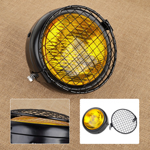 CITALL Motorcycle Motorbikes Retro 12V Amber Lens Round Lamp Headlight & Grill Cover Vintage for Harley Bobber Honda Yamaha ATV(China)