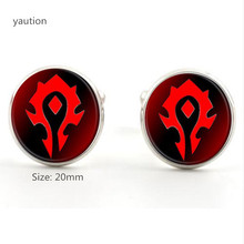 20mm New Brand Shirt Cufflinks with Silver/Bronze Plated Glass Cabochon World of Warcraft Pattern for Men Wedding Gift(China)
