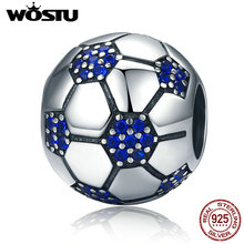 WOSTU High Quality 925 Sterling Silver Football, Blue CZ Beads Fit Original wst Charm Bracelet Pendant Jewelry Gift CQC217(China)