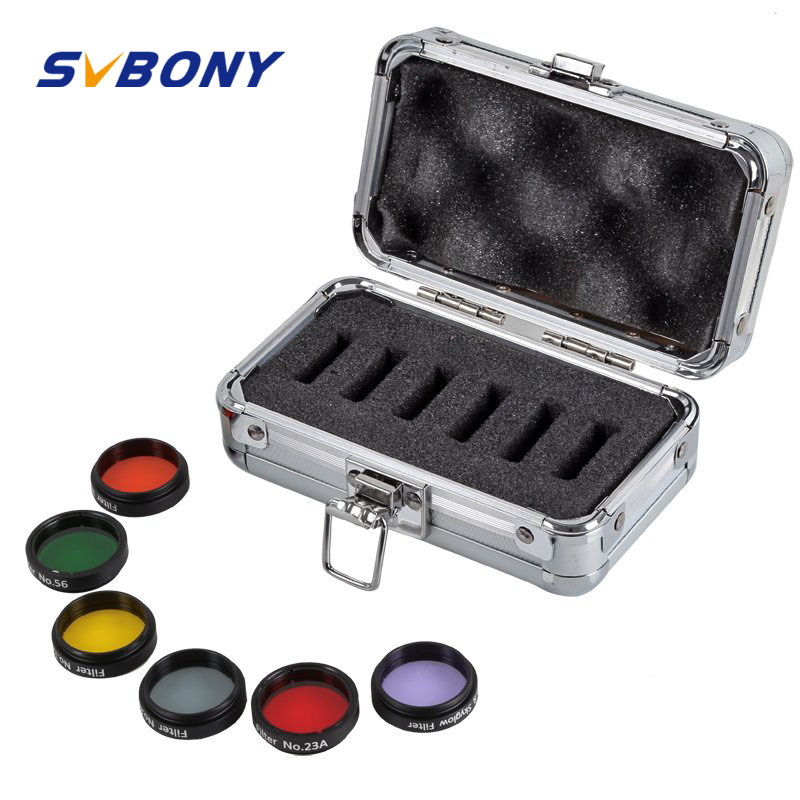 SVBONY 1.25 Eyepiece Kit 5 Colored Filter +1 Moon &amp; Skyglow Filter Metal Box for Astronomy Telescope Monocular Primary W2407<br>
