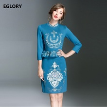 High Quality New Brand Party Formal Woman Dress Plus Size XXL Ladies Lurex  Embroidery 3/4 Sleeve Sheath Knee Length Peplum Dres