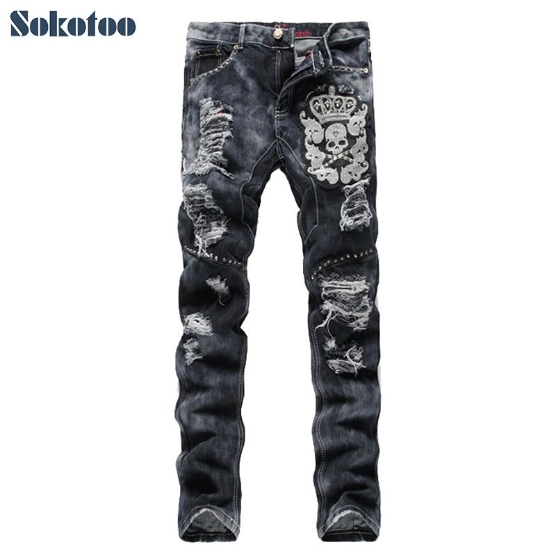 Sokotoo Mens fashion skull crown rivet embroidery ripped jeans Hole patch gray denim pantsÎäåæäà è àêñåññóàðû<br><br>