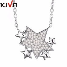 KIVN Fashion Jewelry Blue Stars Cubic Zirconia Womens Girls Bridal Wedding Necklaces Promotion Birthday Mothers Day Gifts(China)