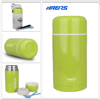 Haers 1L Hot Food Thermos Container 304 Stainless Steel Insulated Thermal Lunch Box for Food Green Food Jar Thermos