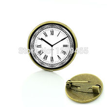Retro ethnic style time clock brooches see you at time badge Popular timeless unisex pins leisure series essential C 890