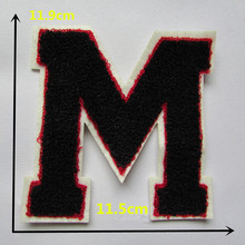 A black capital M Sew-on embroidered towel fabric patches stripes For Clothes pants hat DIY Accessories Sew On Applique C364(China)