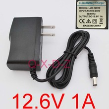 1PCS High quality 12.6V 1000mA 1A 5.5mm x2.1mm Universal AC DC Power Supply Adapter Wall Charger US For lithium battery