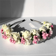 Flower Hairband Bridal Wedding Girl Hair Accessories Wreath for Kids Head Tiara Garland hh5006(China)