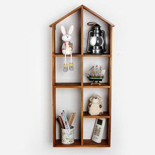Grocery Wooden With 4-Layer type storage cabinet retro wooden hanging finishing wooden shelf house storage box(China)