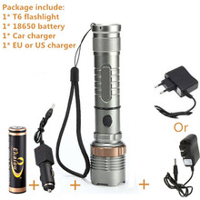 Cree XML-T6 flashlight powerful zoomable waterproof led torch rechargeable camping flash light kit